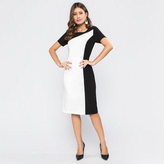 Vestido Com Manga Curta Tubinho Bicolor Preto e Branco