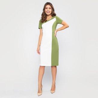 Vestido Com Manga Curta Tubinho Bicolor Verde e Branco