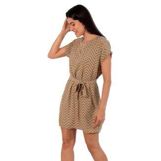 Vestido Crepe Estampado Holin Stone - AMARELO - GG