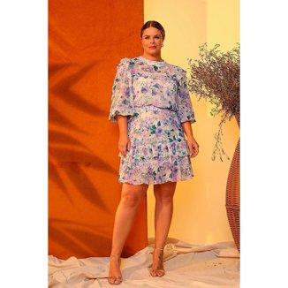 Vestido Curto Almaria Plus Size Lemon Estampado