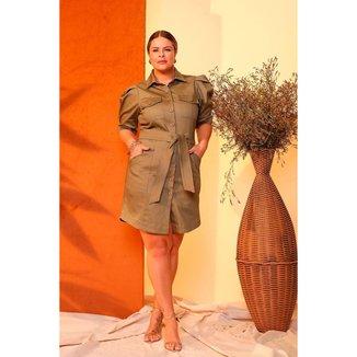 Vestido Curto Almaria Plus Size Lemon Faixa