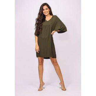 Vestido Curto Bata Verde Musgo - GG - Veste do 46 ao 48