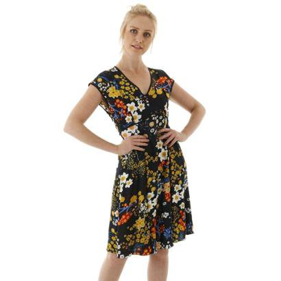 Vestido Curto Estampa Floral Com Pregas e Viés AHA Feminino - Feminino