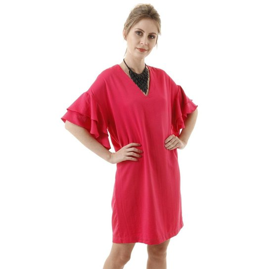 Vestido Curto Liso Com Dupla Camada De Babados AHA Feminino - Pink
