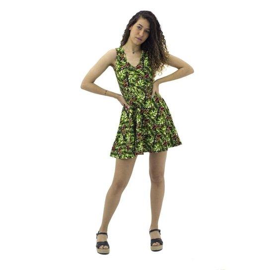 Vestido Curto Rodado Floral  Mosaico Feminino - Verde