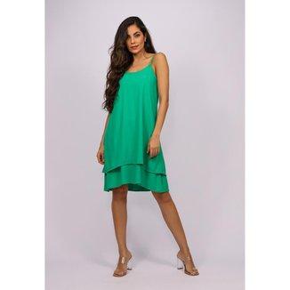 Vestido Curto Viscose Babados Duplo Verde Light - GG - Veste do 46 ao 48