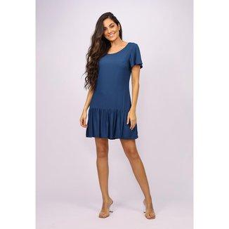 Vestido Curto Viscose Detalhe nas Costas Azul Marinho - GG - Veste do 46 ao 48