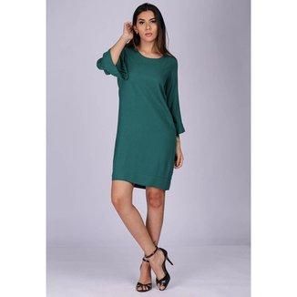 Vestido Curto Viscose Manga Ampla Balli Verde Kentucky - GG - Veste do 46 ao 48