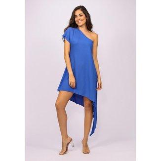 Vestido Curto Viscose Ombro a Mostra de Bico Azul Bic - M - Veste do 40 ao 44