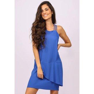 Vestido Curto Viscose Regata Alça Tripla Azul Bic - GG - Veste do 46 ao 48