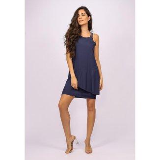 Vestido Curto Viscose Regata Alça Tripla Azul Marinho - GG - Veste do 46 ao 48