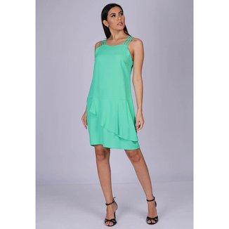 Vestido Curto Viscose Regata Alça Tripla Verde Menta - GG - Veste do 46 ao 48