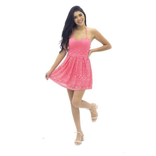 Vestido de Renda com Bojo Mosaico - Rosa