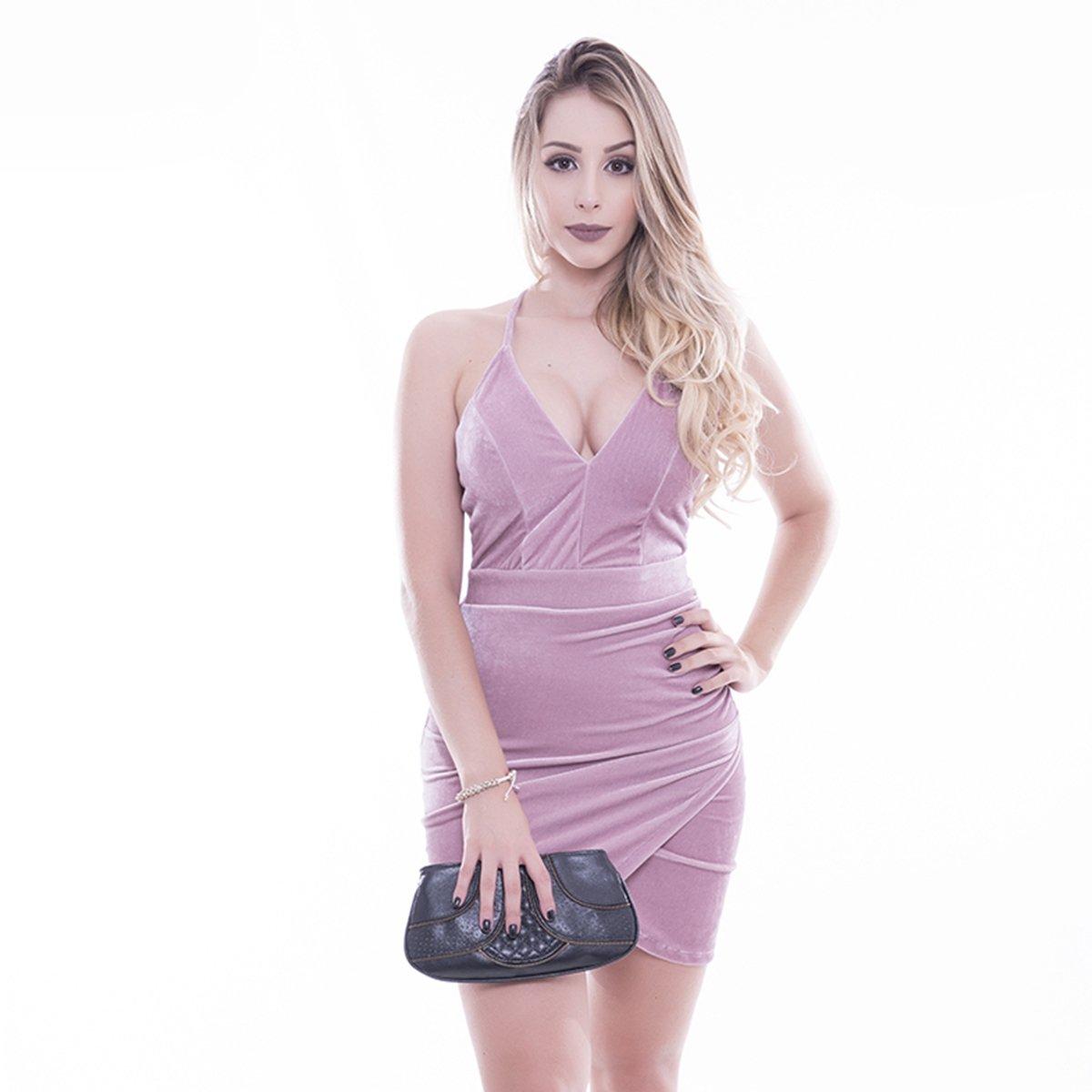 03dbfddef Vestido De Veludo Transpassado Com Drapeado ? Rosa Fina | Netshoes