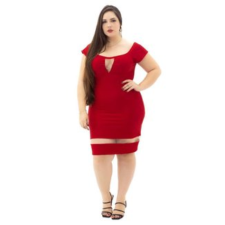 Vestido Detalhe em Tule Plus Size  Mosaico  Feminino