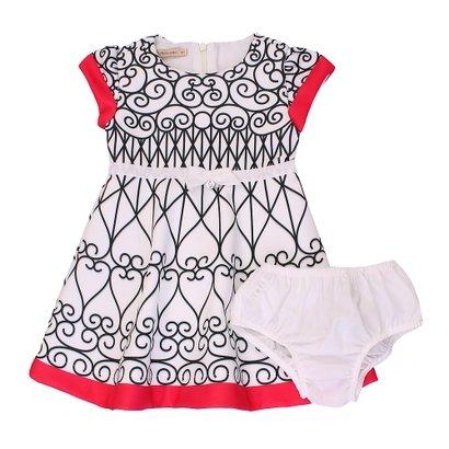 Vestido e Calcinha Neoprene Arabesco Branco - Feminino