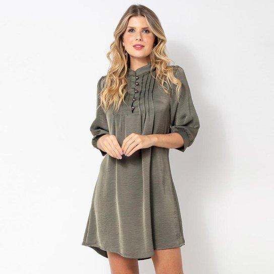 Vestido Elora Pregas Feminino - Verde