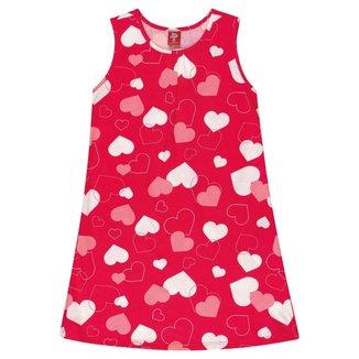 Vestido Estampado Com Corações Bee Loop