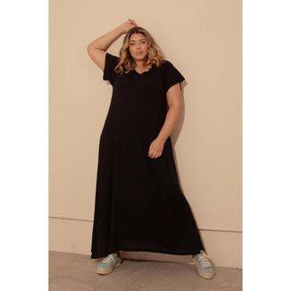 Vestido Êvase Duas Texturas Plus Size