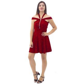 Vestido Feminino Bojo, Abertura Frontal em Zíper Mosaico Vermelho