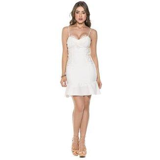 Vestido Feminino Celestine Curto Renda Guipir Zíper Festa