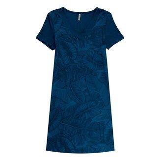Vestido Feminino Com Decote V Cativa - AZUL MARINHO - G