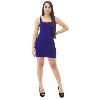Vestido Feminino Listrado Fit Well  Marinho/Preto