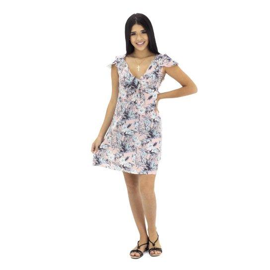 Vestido Floral com Amarração Frontal - Rosa