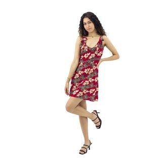 Vestido Floral Costas Nuas Vermelho Mosaico