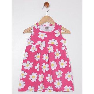 Vestido Florido Infantil Para Menina - Rosa