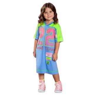 Vestido Infantil 22 Azul Claro Animê