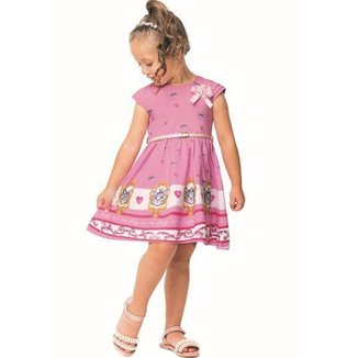 Vestido Infantil Angerô Verão Gato Feminino