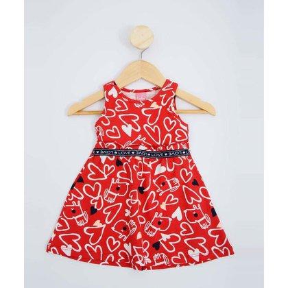 Vestido Infantil Bebê Estampa Corações Tam 2 A 8 Meses - 10049392449
