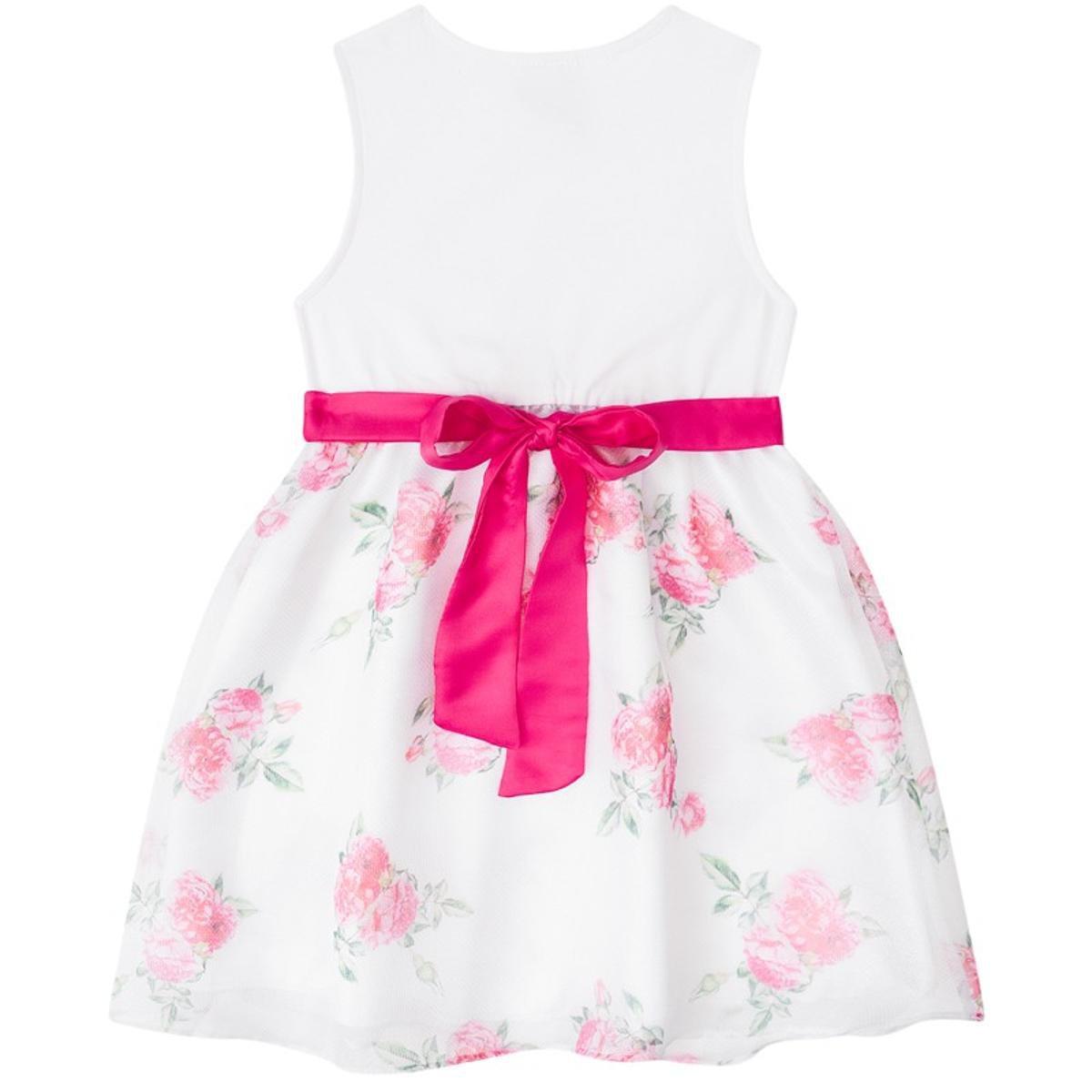 Vestido Infantil Boca Grande Feminino Floral - Branco e Rosa ... 0efb883d1df2c
