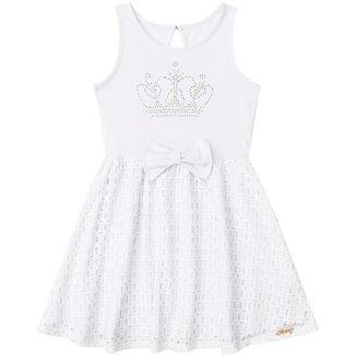 Vestido Infantil Branco Boca Grande BG22097