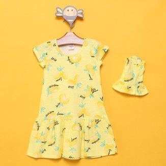 Vestido Infantil Candy Kids Limão + Roupinha de Boneca