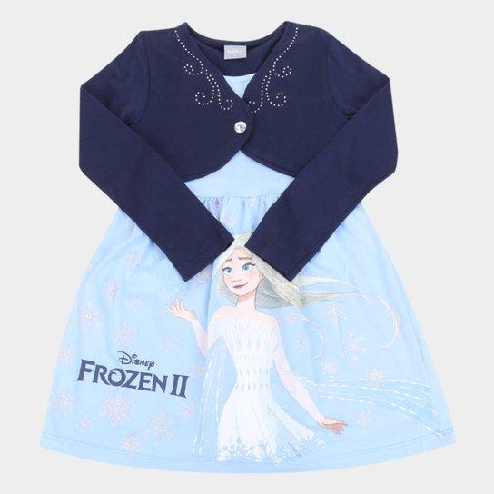 Vestido Infantil Disney Frozen By Fakini Manga Longa - Azul+Marinho