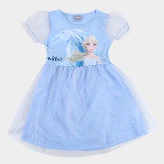 Vestido Infantil Disney Frozen Tule Manga Bufante Feminino