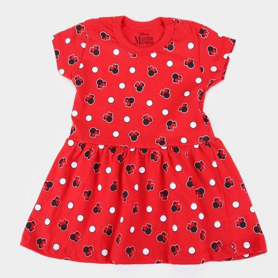 Vestido Infantil Disney Minnie Full - Vermelho