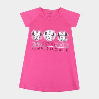 Vestido Infantil Disney Minnie Manga Curta Feminino