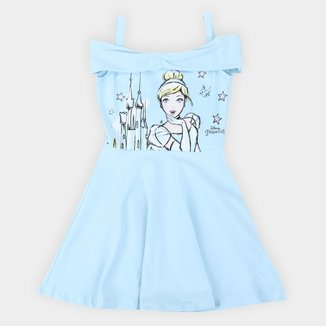 Vestido Infantil Disney Princesa Cinderela Ombro a Ombro