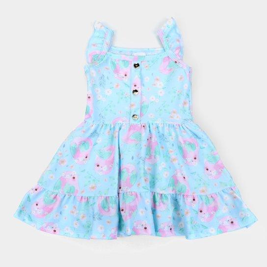 Vestido Infantil Duzizo Crepe Sublimado Feminino - Azul Claro