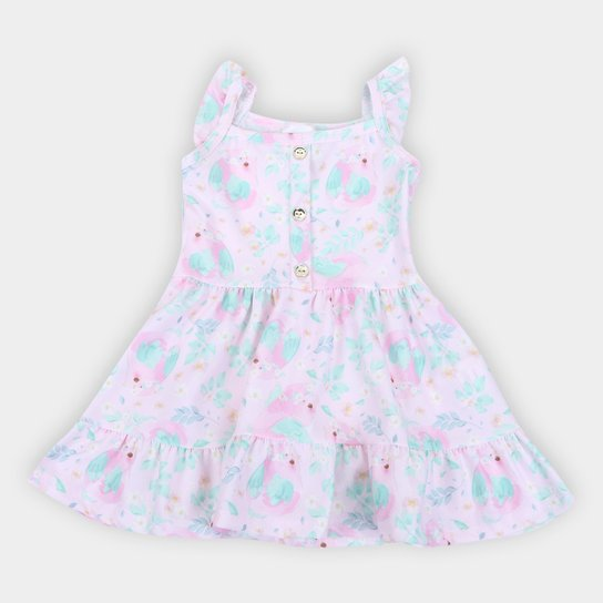 Vestido Infantil Duzizo Crepe Sublimado Feminino - Rosa Claro