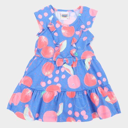 Vestido Infantil Duzizo Frutinhas Babado Feminino - Azul