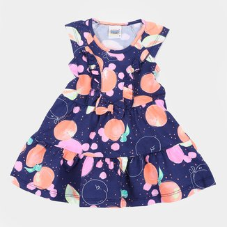 Vestido Infantil Duzizo Frutinhas Babado Feminino