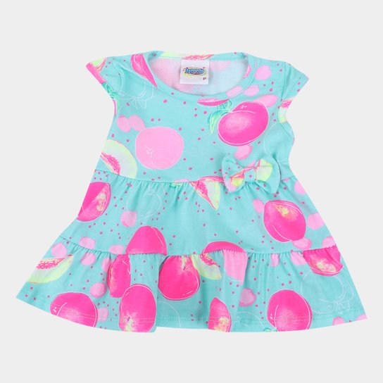 Vestido Infantil Duzizo Frutinhas Laço Feminino - Verde claro