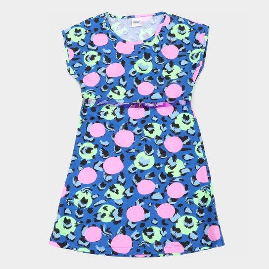 Vestido Infantil Duzizo Onça Poá Feminino - Azul