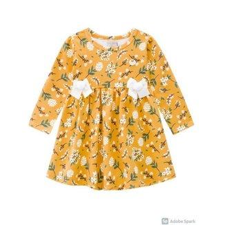 Vestido Infantil Em Moletom Leve, Flores Delicadas - Milon