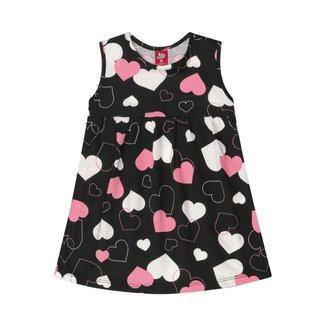 Vestido Infantil Estampado Com Corações Bee Loop