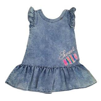 Vestido Infantil Gabriela Aquarela Bala Com Botões Atrás